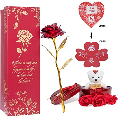 Next Bazaar Artificial Flowers (Red, 1 Teddy, 1 Heart shape greeting card , 1 heart shaped metal box and 3 PCS Artificial rose soaps)