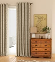 Curtain Label Arezzo Poly Cotton Textured Curtain with Eyelet Rings (4 X 7.5 ft W X H, Oyster) - Set of 2