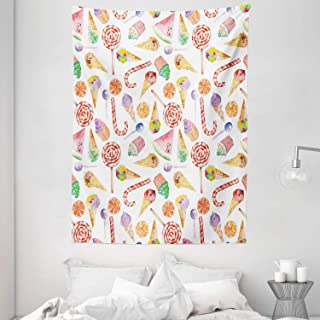 Colorful Tapestry, Ice Cream Candy Cakes Lollipop Clementine Fruits Cute Birthday Celebration Pattern, Wall Hanging for Be...
