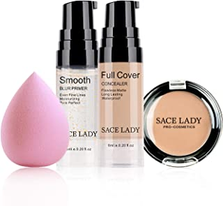 Waterproof Full Coverage Concealer with Primer Sponge Set, Smooth Matte Flawless Creamy Liquid Foundation Corrector Makeup...