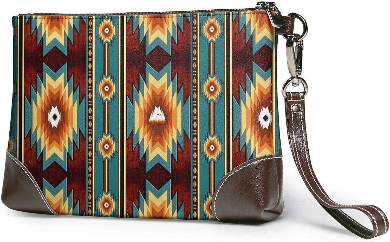 Leather Clutch American Native Bear Buffalo Stripe Wristlet Wrist Strap Long Wallet Smartphone Coin Purse
