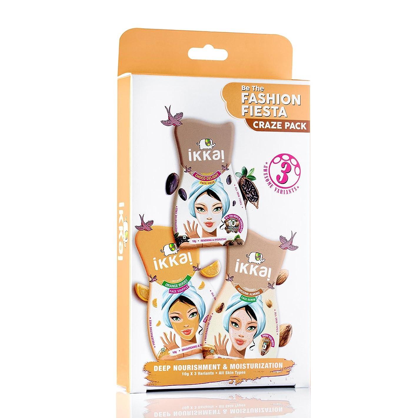 バルクアルコールベーカリーIkkai by Lotus Herbals Fashion Fiesta Craze Pack (1 Face Mask, 1 Face Scrub and 1 Face Souffle)