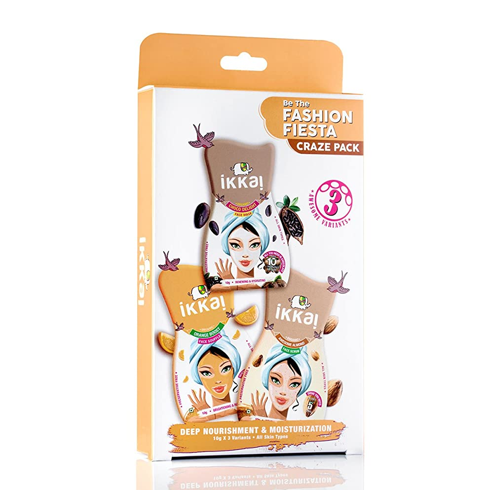 ベット抽選ドループIkkai by Lotus Herbals Fashion Fiesta Craze Pack (1 Face Mask, 1 Face Scrub and 1 Face Souffle)