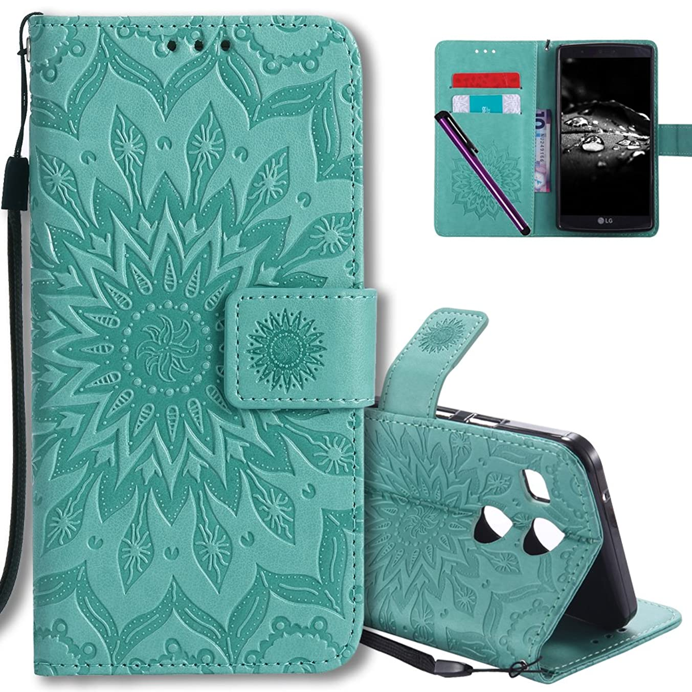 LG Nexus 5X Flip Case COTDINFORCA Emboss Mandala with Card Holder Slot Pockets, Wrist Strap, Magnetic Closure Premium PU Leather Case Cover For LG Google Nexus 5X (2015). Mandala Green