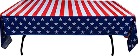 Exquisite 6-Pack Premium Rectangle American Flag Design Plastic Tablecloth - USA Stars and Stripes Tablecloth Disposable Plastic Table Cover for July 4th - 54 inch. x 108 inch.