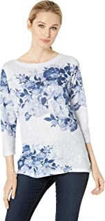 Jeans Women's Printed Smooth Jersey Blue Tone Rose Boat Neck Top