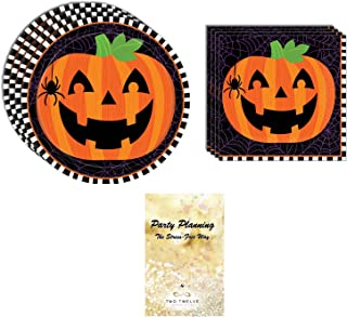 Fall Halloween Party Supply Pack, Pumpkin Flair Design, Disposable Paper Dinnerware, 32 Guests, Dinner Plates and Lunch Napkins, Great for Classroom Party
