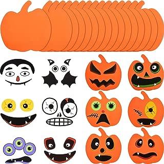 Outus 16 Pieces Halloween Foam Pumpkin Craft Kit and 16 Pieces Pumpkin Stickers Craft Stickers for Halloween Kids Craft Party Decorations