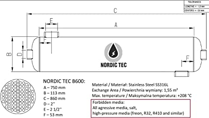 NORDIC TEC W/ärmetauscher Schwimmbadw/ärmetauscher Edelstahl Schwimmbad Spa B-Line B210 61kW