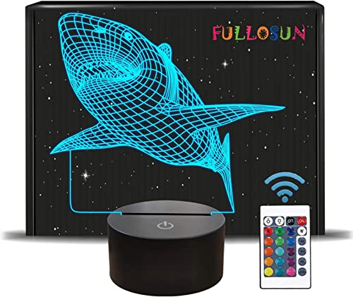 FULLOSUN 3D Shark Illusion Lamp, Animals Night Light with Remote Control Optical Touch 16 Color Changing Desk Lamps K...