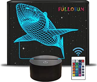 FULLOSUN 3D Shark Illusion Lamp, Animals Night Light with Remote Control Optical Touch 16 Color Changing Desk Lamps Kids R...