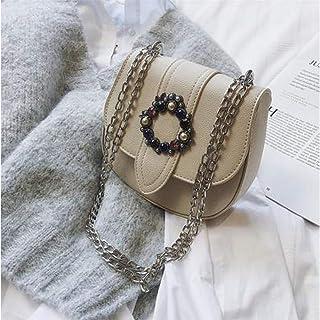 LHKFNU Luxury Diamond Round Buckle Fashion Designer Bag Casual Women Chain Purse Saddle Bag Crossbody Mini Messenger Bag Handbag