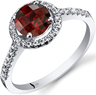 Peora 14K White Gold Garnet Halo Ring Round Checkerboard Cut 1.25 Carats Sizes 5 to 9