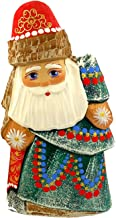 Russian Hand Painted Hand Carved Santa Claus Holding Tree Figurine 6 1/2 Inch