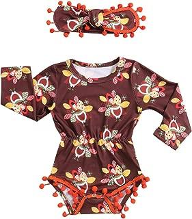 Thanksgiving Newborn Baby Girls Clothes Turkeys Printed Long Sleeve Tassel Romper+Cute Headband Outfit Set