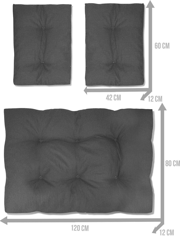 normani Palettenkissen Set 3-Teilig EIN gro/ßes Sitzkissen und Zwei R/ückenkissen