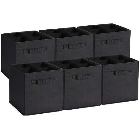 Amazon Brand – Umi Cube de Rangement Tissu, Panier de Rangement, Caisse de Rangement, casier Rangement, Rangement Vetement, Boite de Rangement Tissu, 26,7 x 26,7 x 27,9, Noir