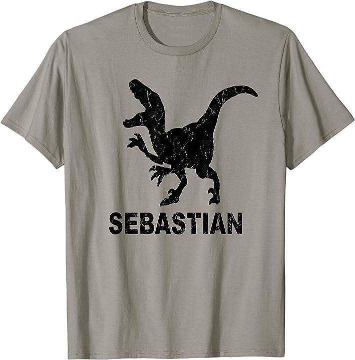 Sebastian Name T Rex T-shirt Distressed Black Dinosaur