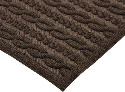 JVL Knit Design Scraper Braided Door Mat, Brown, 40 x 60 cm
