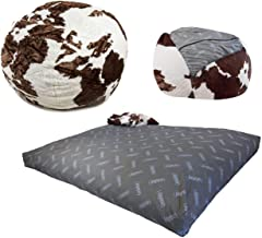 CordaRoy's Faux Fur Bean Bag Chair, Convertible Chair Folds from Bean Bag to Bed, As Seen on Shark Tank - Cow Pattern, Full