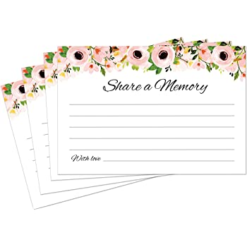 Share a Memory Cards - 50 Pack - Tasteful Alternative to Funeral Guest Books for Memorial and Celebration of Life or Going Away Party, Birthday or Graduation Guest Book