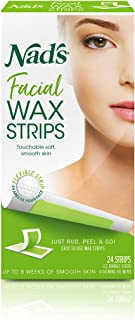 Nad's Facial Wax Strips, Fragrance free, 24 Count (Pack of 2)
