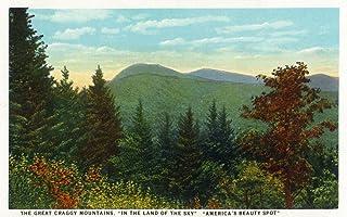 Blue Ridge Mountains, North Carolina - Great Craggy Mountains View - Vintage Halftone (9x12 Art Print, Wall Decor Travel P...