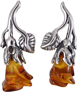 Sterling Silver and Baltic Honey Amber Post Back Earrings