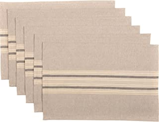 VHC Brands Farmhouse Tabletop & Kitchen - Sawyer Mill Tan Placemat Set of 6, One Size, Khaki