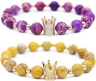 8mm Black Labradorite & White Howlite CZ Her King/His Queen 8mm Beads Couple Bracelet, 7.6