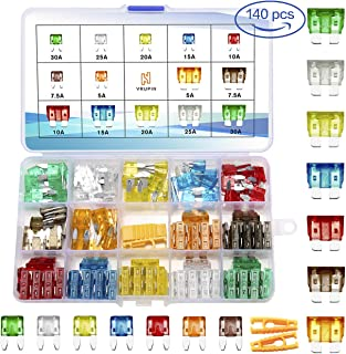 140 PCS Car Fuses Assortment Kit,Blade auto Fuses and Mini Flat Automotive Fuse kit 5A 7.5A 10A 15A 20A 25A 30A Car Motorcycle Truck SUV Automotive Replacement Fuses