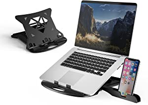 """DTK Laptop Stand with 360 Swivel Base Adjustable Computer Stand with Phone Holder Multi-Angle Stand for Desk Portable Foldable Laptop Riser Notebook Holder Compatible for 10 to 17"""" Laptops (Black)"""