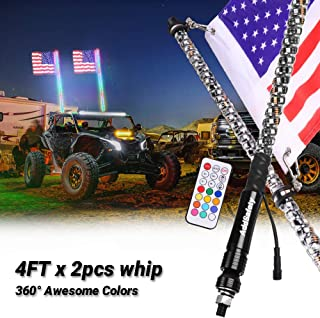AddSafety 2PCS 4FT RF Remote Control LED Whips Light With Dacning/Chasing Light with Hookup and American Flag For Off- Road Vehicle ATV UTV RZR Jeep Trucks Dunes