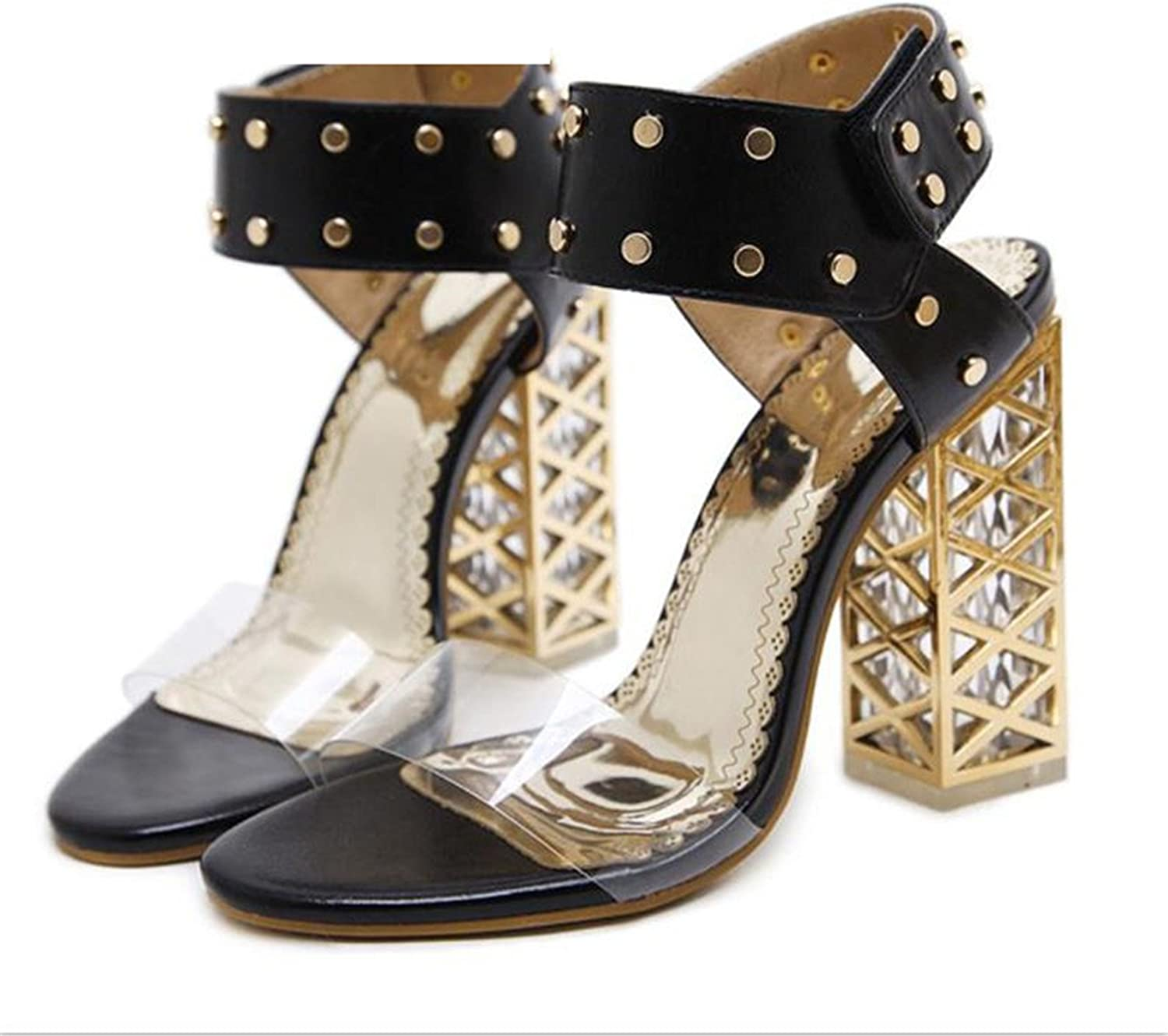 Twinkle UU Summer shoes Women 2018 Sexy PVC Crystal Open Toe High Heels Sandals shoes Size 34-40 Black White 923-9