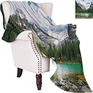 MKOK Landscape Commercial Grade Printed Blanket Canada Ohara Lake Yoho National Park with Mountains Nature Scenery Art Photo Queen King W60 x L70 Inch Multicolor