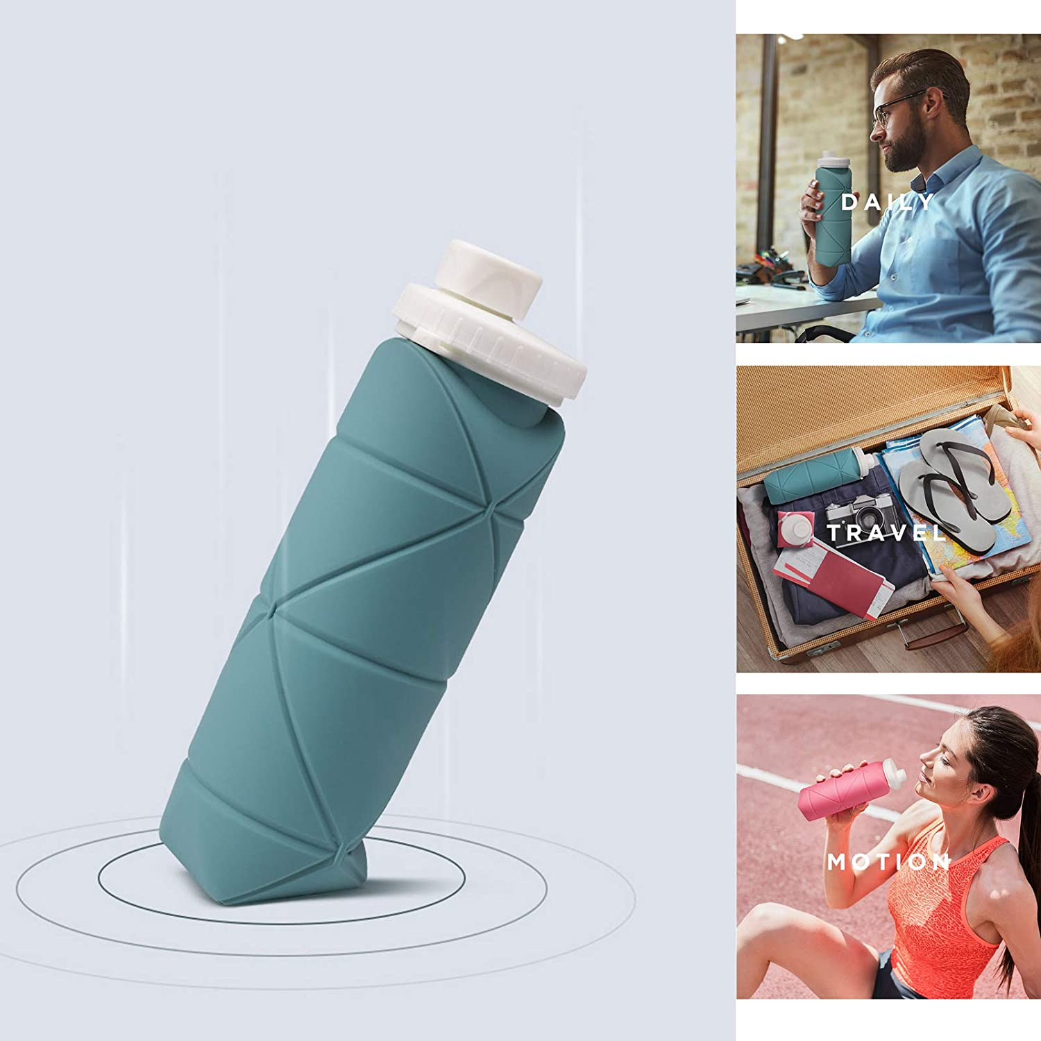 Grey AUTEK Silicone Collapsible Folding Water Cup 20 oz//600 ml Sealed Waterproof and Easy to Carry Folding Water Bottle for Outdoor Sports Business Travel Daily Life