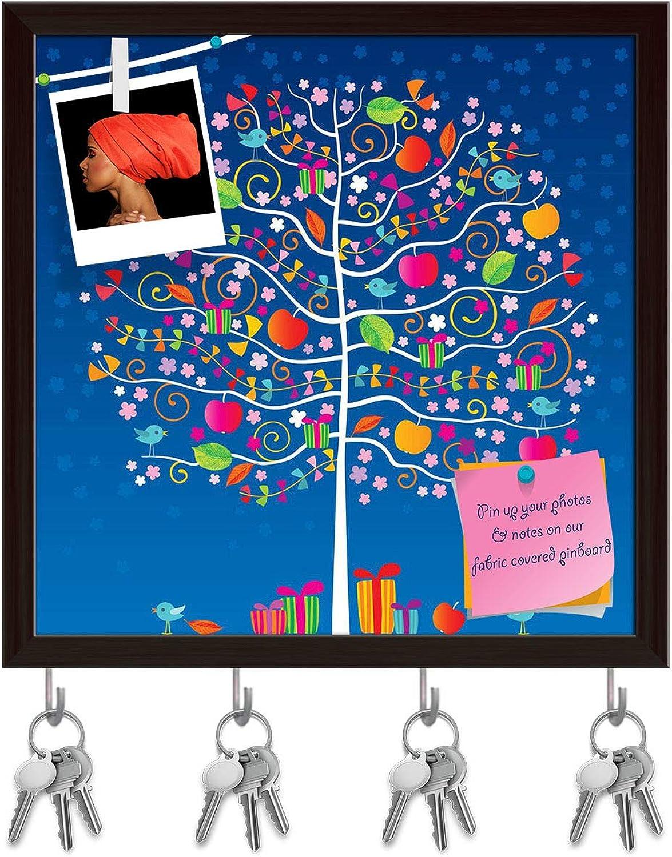 Artzfolio The Magic Tree Key Holder Hooks   Notice Pin Board   Dark Brown Frame 20 X 20Inch