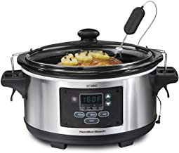 Hamilton Beach Portable 6-Quart Set & Forget Digital Programmable Slow Cooker With Temperature Probe, Lid Lock, Stainless ...