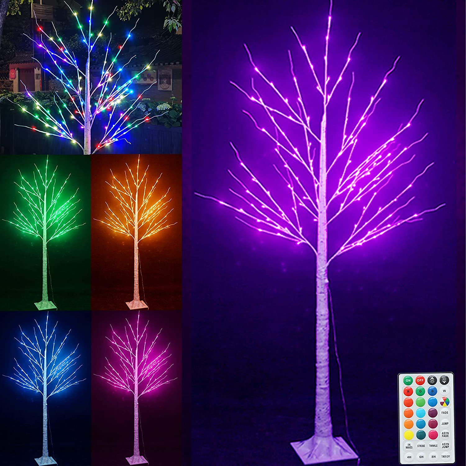 Pooqla 6 ft 120 LED Halloween LightedBirchArtificialTree, Color Changing Light Up Tree with Remote, Christmas White Birch Tree for Indoor Outdoor Thanksgiving Holiday Party Home Yard Decoration RGB