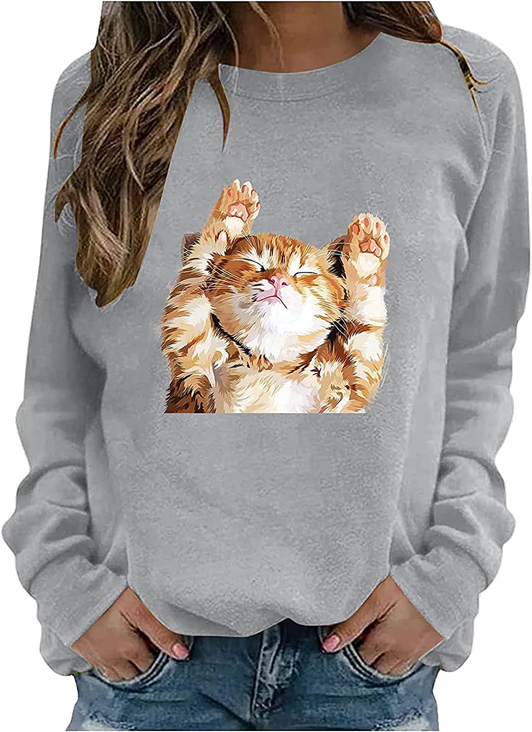 Cute Sleeping Cat Print Pullover For Women O Neck Long Sleeve Blouse Casual Fashion Loose Sweatshirt Tops