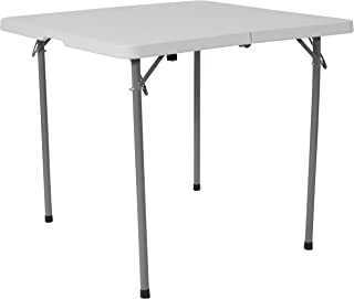 Flash Furniture 3-Foot Square Bi-Fold Granite White Plastic Folding Table with Carrying Handle