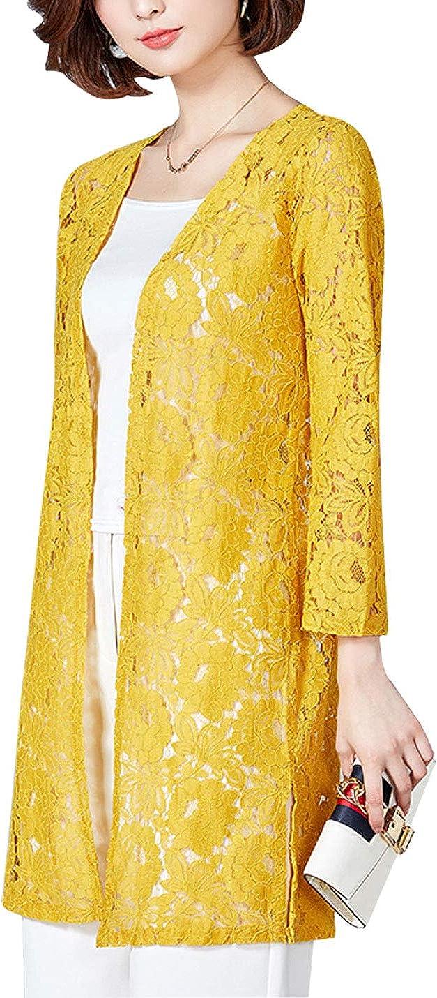 Omoone Women's Mid Long Open Front Crochet Lacce Floral Shrug Kimono Cardigan