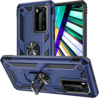 Case for Huawei P40 Pro/P40 Pro+ with Tempered Glass Screen Protector,Ring Holder Protective Silicone Shockproof Tough Arm...