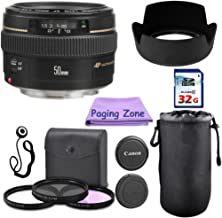 Canon EF 50mm f/1.4 USM Camera Lens. PagingZone Deluxe Kit Includes, 3Piece Filter Set + Lens Case + Lens Hood + 32GB Class 10 Card + Cleaning Cloth. for EOS 6D, 70D, 5D MK II III.