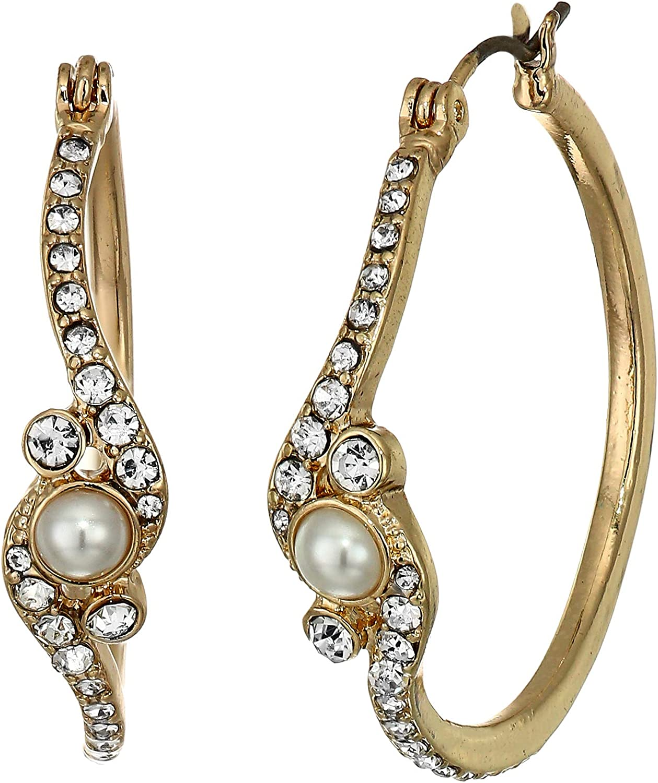Anne Klein Women's Blanc Pearl Hoop Earrings, Size: 0