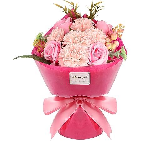ソープフラワー 石鹸花束(32*20*12.5cm)バラ カーネーション プレゼント クリスマス バレタインダー お誕生日 記念日 結婚お祝い 母の日 カード付き ボックス入り (ピンク)
