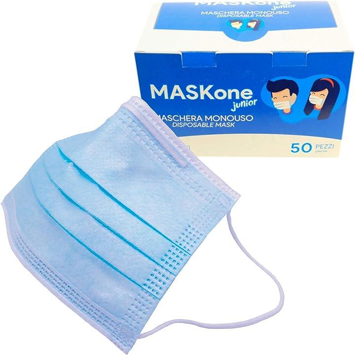 Mascherine chirurgiche monouso certificate ce- imbustate singolarmente isn - maskone junior  50 pezzi B08KGV8LC2