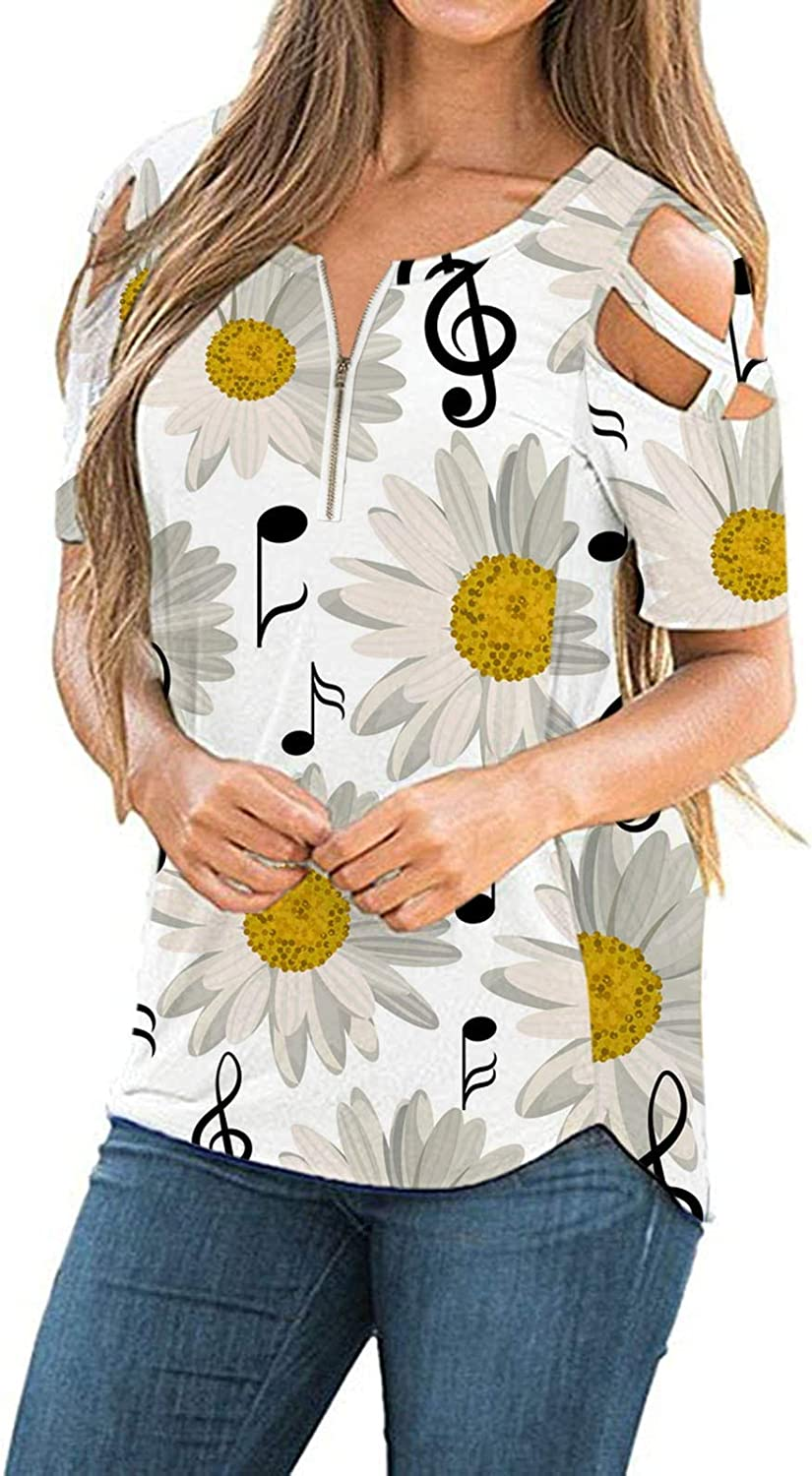 BEUU Womens Strappy Cold Shoulder Tops Floral Print Casual Tees Loose Basic Round Neck Crisscross T Shirt Blouse