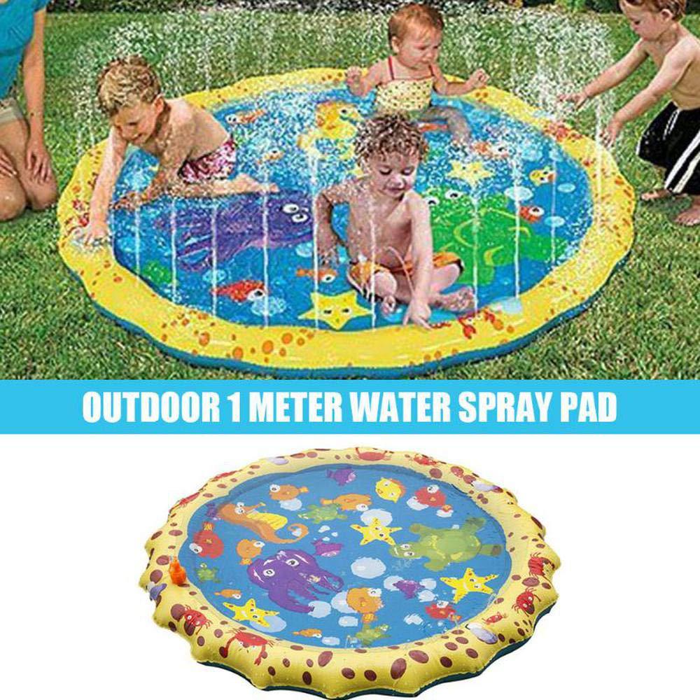 Swimming Pool Colchoneta para Rociar Y Salpicaduras De Agua - Durable Cojín De Rociadores Inflable Portátil Piscina De Vaciado De Rociado, Juguetes De Aerosol Esenciales De Verano para Niños 68 Inch: Amazon.es: