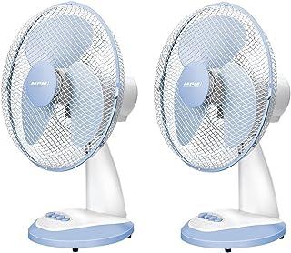 Lot De 2 Ventilateurs De Table Ou De Bureau Très Silencieux, 3 Vitesses De Ventilation, Oscillant Avec Rotation, Blanc